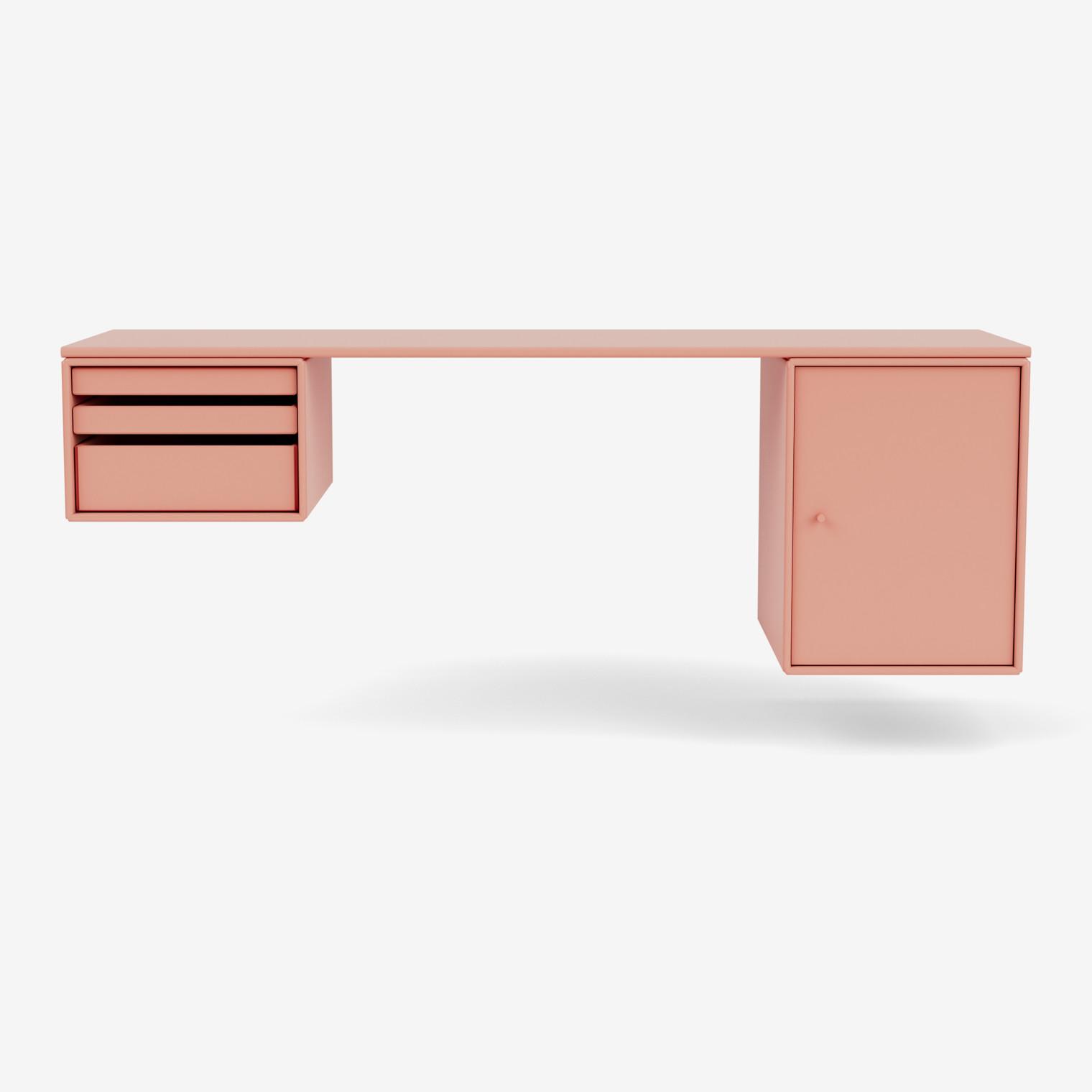 WORKSHOP Schreibtisch mit Tabletts und Schrank