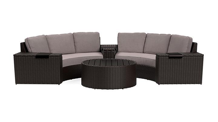 Yardbird Elliot Outdoor 6-Piece Round Sectional Set Outdoor Furniture