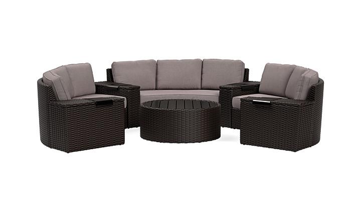 Yardbird Elliot Outdoor 8-Piece Round Sectional Set Outdoor Furniture