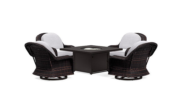Yardbird Waverly Outdoor Fire Pit Table Set with 4 Swivel Chairs Outdoor Furniture